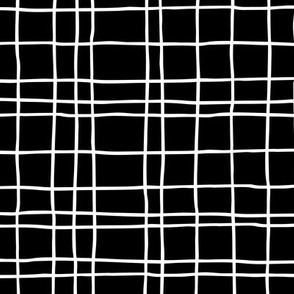 Minimal irregular stripes abstract linen lines geometric grid monochrome black and white