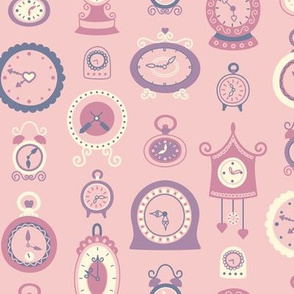 Retro Clocks in Dusty Purple & Pink