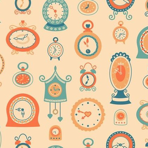 Retro Clocks in Orange and Teal