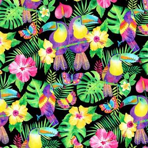 Tropical Toucans in Watercolour Black