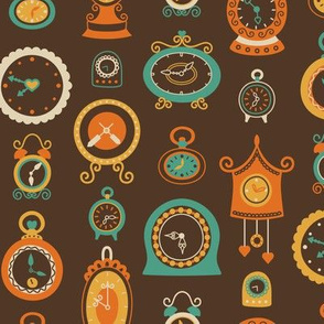 Retro Clocks in Orange and Teal on Dark Brown