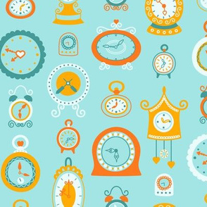Retro Clocks in Teal and Orange