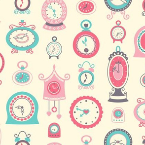 Retro Clocks in Pink & Teal