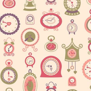 Retro Clocks in Pink, Purple & Green