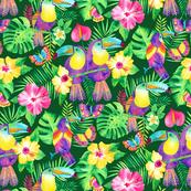 Tropical Toucans in Watercolour Green