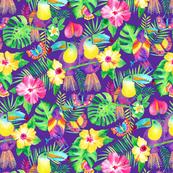 Tropical Toucans in Watercolour Purple