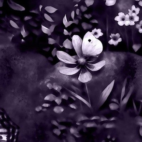 floral and butterfly design violet monotone