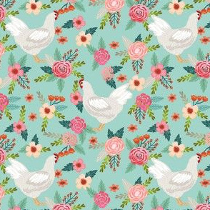 leghorn chicken floral fabric, chicken fabric, chicken floral fabric, chicken breed fabric, farm fabric, farmhouse fabric - mint