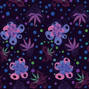 Temperamental Flowers - Purple LARGE