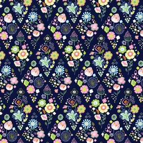 Flower diamonds navy
