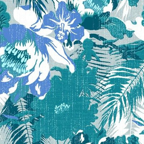 big tropical floral in icy blues