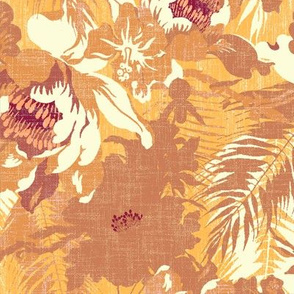 big tropical floral in terracotta