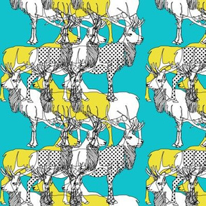 elks with dots (yellow and teal)