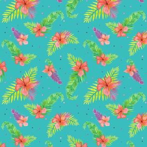 Tropical Flowers Aqua Ground
