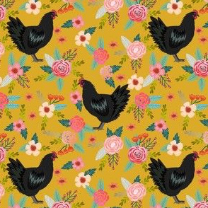jersey chicken floral fabric, jersey giant fabric, chicken fabric, chickens fabric, chicken breeds fabric - yellow