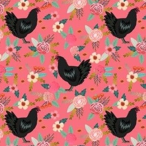 jersey chicken floral fabric, jersey giant fabric, chicken fabric, chickens fabric, chicken breeds fabric - pink