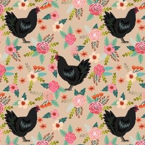 jersey chicken floral fabric, jersey giant fabric, chicken fabric, chickens fabric, chicken breeds fabric -  tan