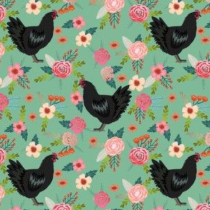 jersey chicken floral fabric, jersey giant fabric, chicken fabric, chickens fabric, chicken breeds fabric - green