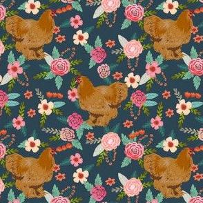 chochin chicken floral fabric - floral fabric, chochin fabric, chicken fabric, chickens fabric, farm friendly fabric, farm fabric - dark navy
