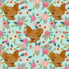 chochin chicken floral fabric - floral fabric, chochin fabric, chicken fabric, chickens fabric, farm friendly fabric, farm fabric - blue