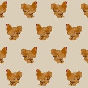 chochin chicken fabric - chicken breed fabric, chicken fabric, farm house fabric, farm friendly fabric, - tan