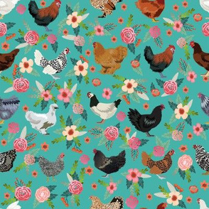 chicken breeds floral fabric - floral fabric, chicken fabric, chickens fabric, floral fabric, bird fabric, birds fabric - teal