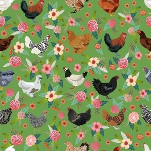 chicken breeds floral fabric - floral fabric, chicken fabric, chickens fabric, floral fabric, bird fabric, birds fabric - green