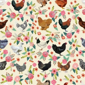 chicken breeds floral fabric - floral fabric, chicken fabric, chickens fabric, floral fabric, bird fabric, birds fabric - cream