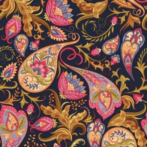 Navy Pink Paisley Design