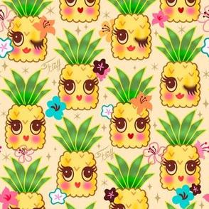 Happy Kawaii Cute Pineapples