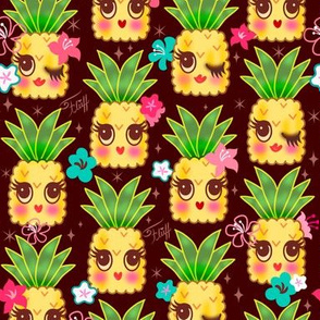 Happy Kawaii Cute Pineapples-Choco