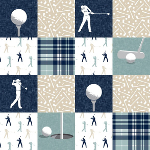 golf wholecloth - dusty blue plaid - LAD19