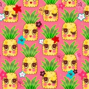 Happy Kawaii Cute Pineapples- Pink
