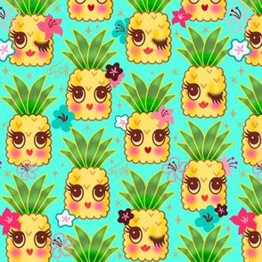 Happy Kawaii Pineapples-Aqua