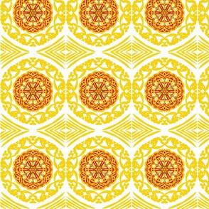 Gold Filigree Circles of Lacy Blossoms - Border Tiles