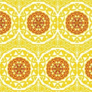 Gold Filigree Circles of Lacy Blossoms in a Chevron Border Chevron Border