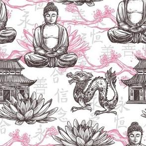 Asian Buddah Dragon Pattern