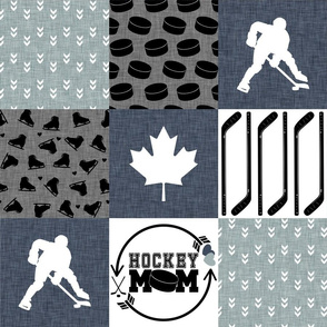 Hockey Mom//Blue - Wholecloth Cheater Quilt