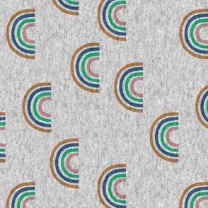 Lovebird Textured Scattered Rainbows on Grey jersey look Turmeric Peacock Meadow Rosebud