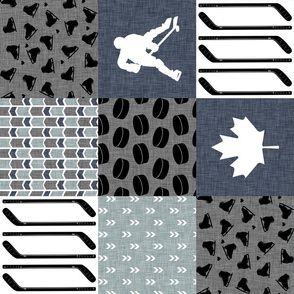 Hockey Mom//Blue - Wholecloth Cheater Quilt - Rotated