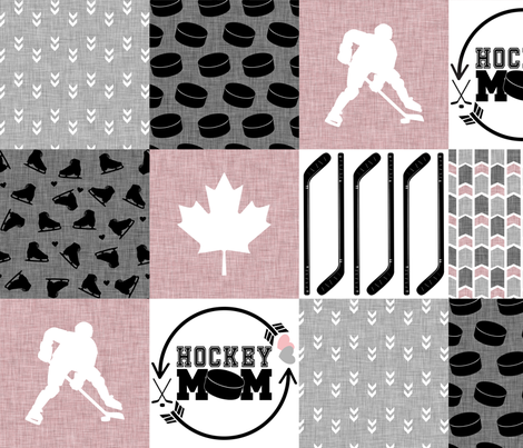 Hockey Mom//Pink - Wholecloth Cheater Quilt fabric by longdogcustomdesigns on Spoonflower - custom fabric