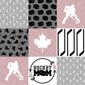Hockey Mom//Pink - Wholecloth Cheater Quilt