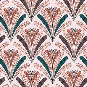 art deco feathers pink
