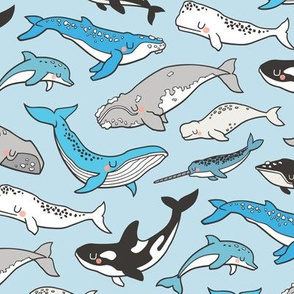 Whales Doodle Nautical Ocean Sea on Light Blue