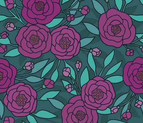 Moody peony fabric by kondratya on Spoonflower - custom fabric