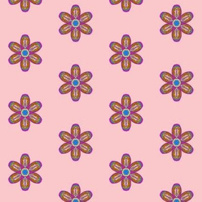 Embossed Fantasy Flowers on Dawn Blush