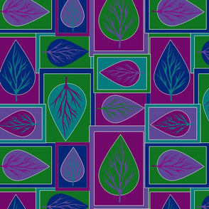 Leaves Color Block in Cool Jewel Tones