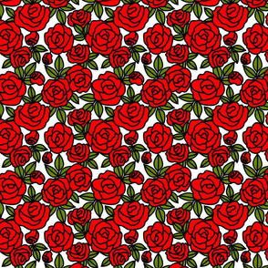Stained Glass Rose Garden in Red