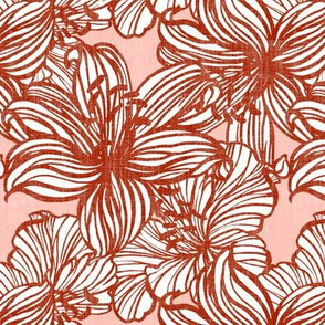 big tropical line floral in sepia