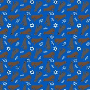 Tiny Curly Coated Retrievers - Hanukkah